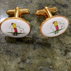 Gold-Tone Golf Themed Cuff Links